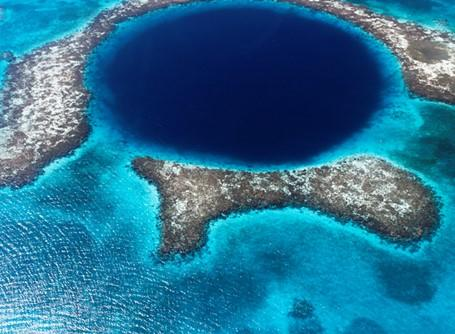 The famous Blue Hole near Belize formed by a submarine sinkhole