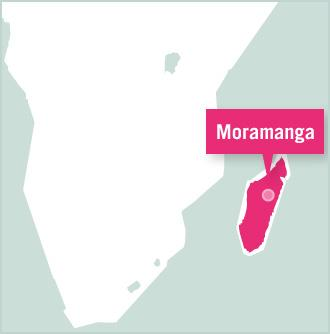 A map of Madagascar showing the position of Moramanga