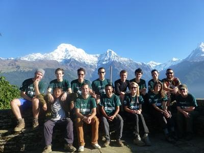 Group of volunteers at a conservation project in Nepal