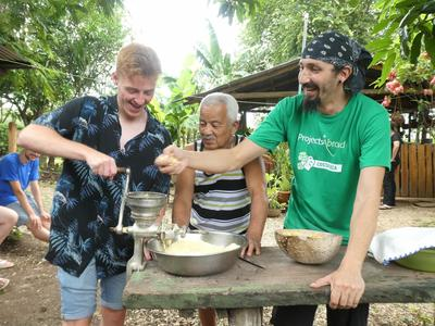 Frazer enjoying his traditional cooking lesson