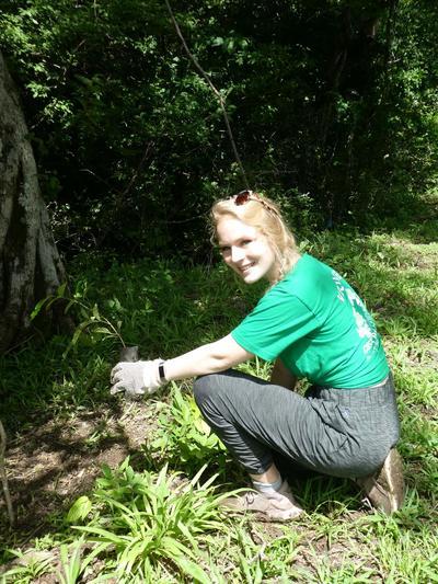 Lauren working on the reforestation activities