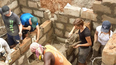 The students from Ackworth really got stuck in building the toilet block for the orphanage in Ghana