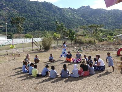 The children and Guides enjoying games and lessons outside