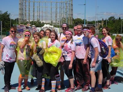 The Calder VI group fundraising on a colour run