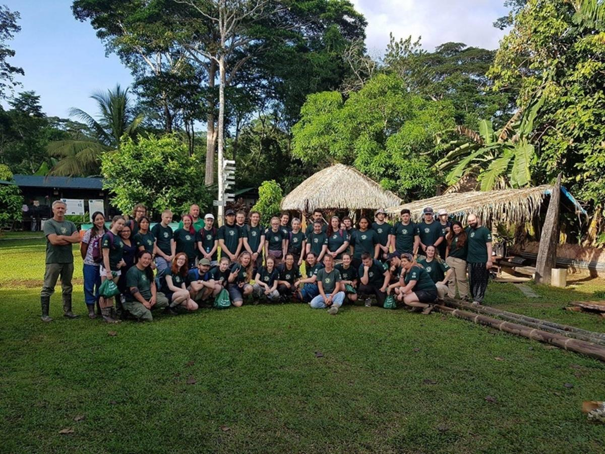The group from Capel Manor College posing for a photo in the rainforest in Peru