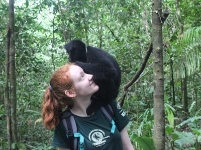 Volunteer with a previously released Spider Monkey