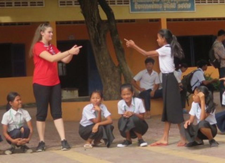 Playing with Cambodian children
