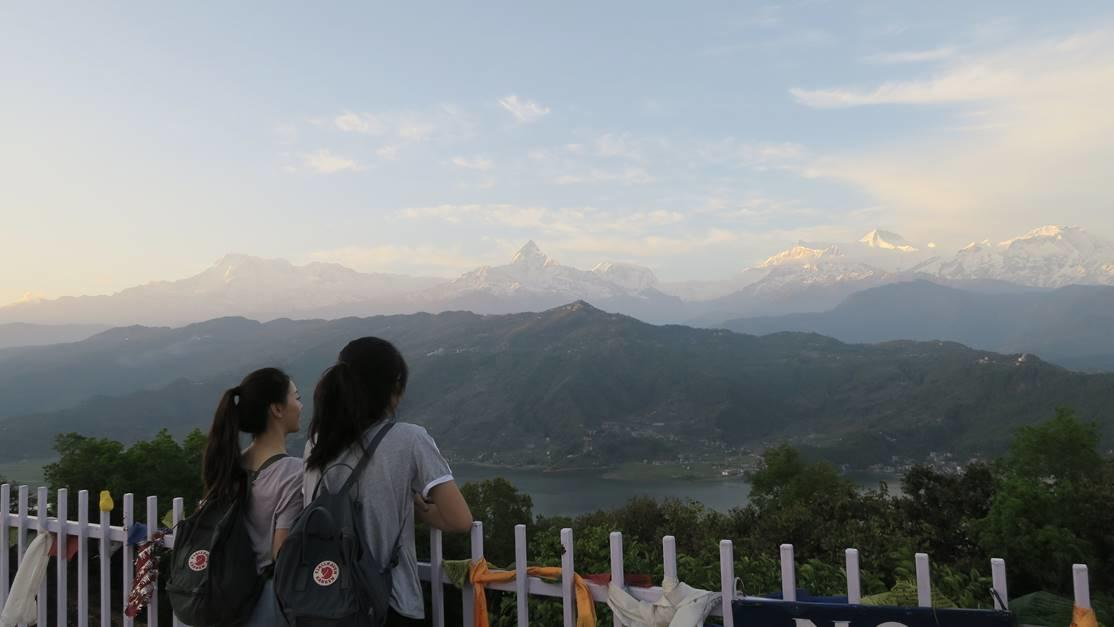 Looking out over the Himalayas from the viewpoint in Pokhara