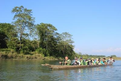 A group of students and teachers from Salisbury Sixth Form College take a boat trip in Nepal