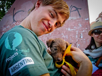 A volunteer takes care of a puppy on the Animal Care project in Cordoba, Argentina.