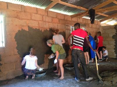 Projects Abroad High School Special volunteers help renovate a building at a Care and Community placement in Ghana