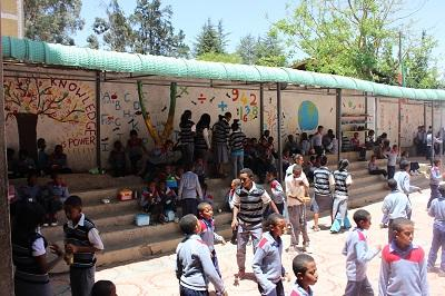 School children in Ethiopia have a break during school hours