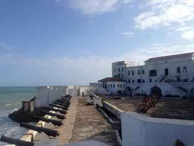 Scenic landscape of Cape Coast Castle, a historic fort built by Europeans in Ghana