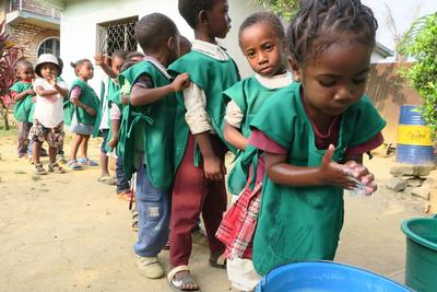 Children learning about hygiene in Madagascar