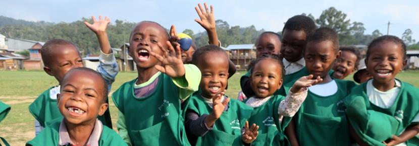 Children in Madagascar wearing their new uniforms