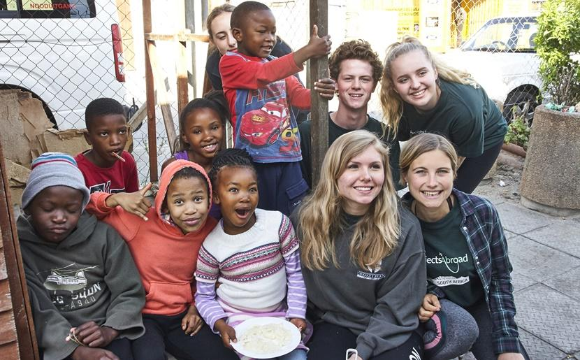 Volunteers with the local children at a care centre in Lavender Hill