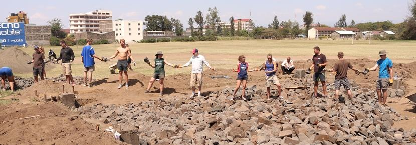 Volunteers involved in a building project in Kenya