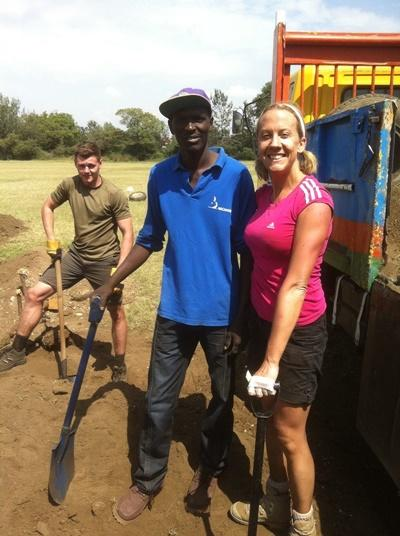 Volunteers helping the locals with some of the building work