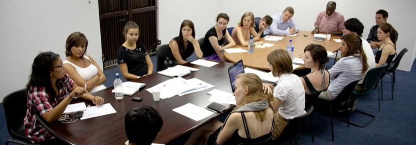 A group participating in a Law Internship overseas.