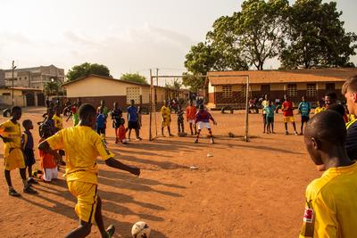 A Ghana soccer student aims of the goals during practice
