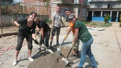 Group of volunteers on building project in Nepal