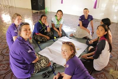 Girl guides in Cambodia volunteering and producing art