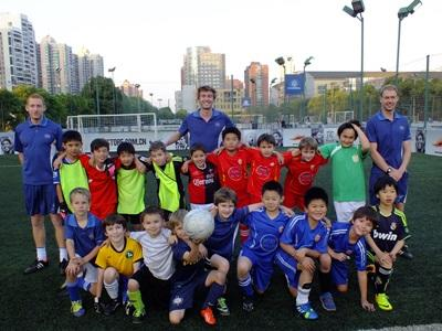 Scouts on football group volunteer project in China
