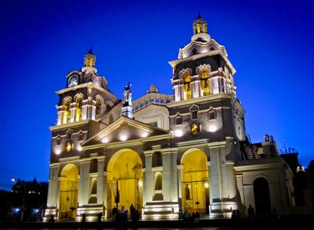 A view of one of the iconic Argentinian churches lit up at night