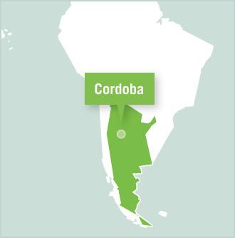 Cordoba is marked on a map of Argentina