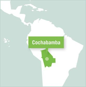 A map of Bolivia shows the location of Cochabamba