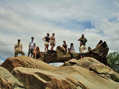 A group of Projects Abroad Bushveld Conservation volunteers at the Wild at Tuli game reserve in Botswana