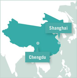 A map of China shows the positioning of Chengdu and Shanghai