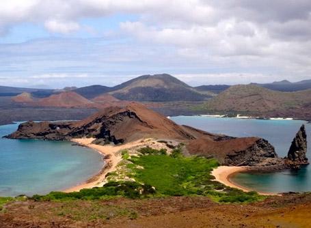 A scenic view over the Galapagos Islands off Ecuador