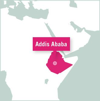 Addis Ababa is highlighted on a map of Ethiopia