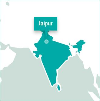 Jaipur is highlighted on a map of India