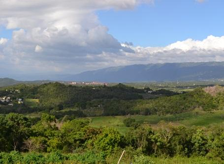 The rolling green hills and mountains of Jamaica's rural interior