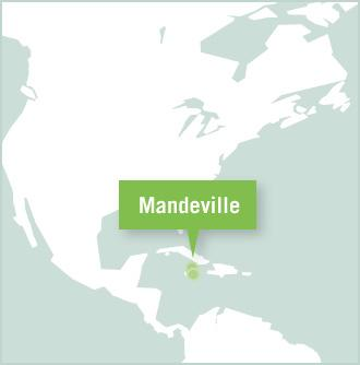 A map of Jamaica shows Mandeville