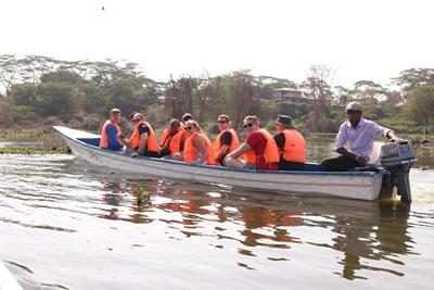 Group of volunteers on a boat ride in Kenya