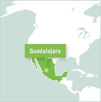 A map of Mexico highlights Guadalajara