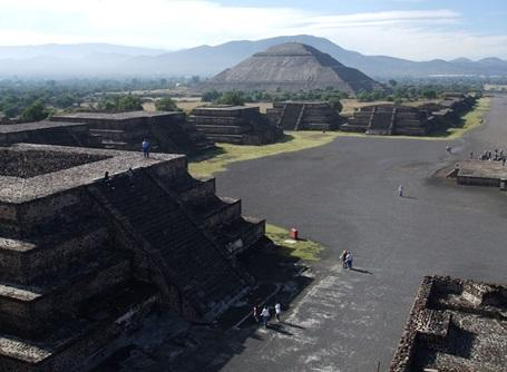 A shot from atop one of the pyramids at Teotihuacan