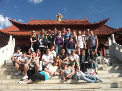 A group of volunteers visiting some local temples