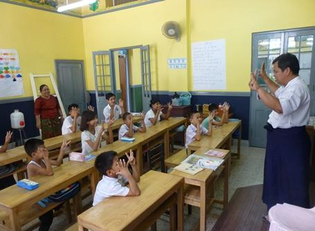 Schoolchildren during class in Myanmar