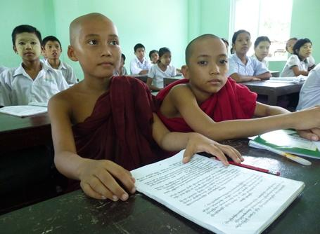 Monks attending school in Myanmar
