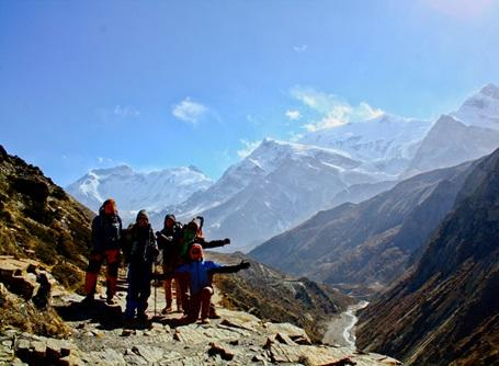 A group of volunteers enjoying a hike in the Himalayas