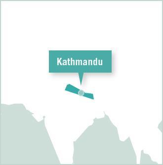 A map of Nepal featuring Kathmandu