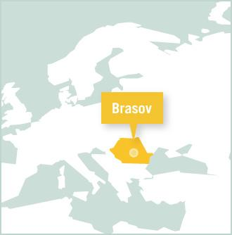A map showing the location of Brasov in Romania