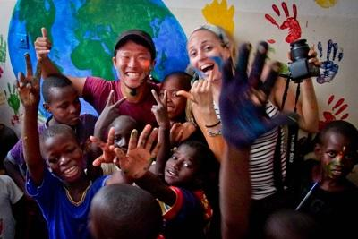 Volunteers get involved with some arts and crafts with the children in Senegal