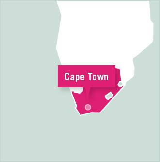 Cape Town is highlighted on a map of South Africa