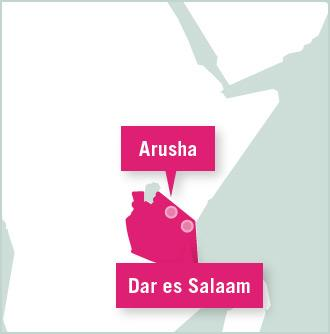 A map of Tanzania showing the locations of Arusha and Dar es Salaam