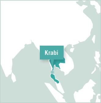 A map of Thailand shows the location of Krabi